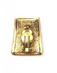 gold clip on earrings yves laurent ysl vintage gold rectangle clip on earrings
