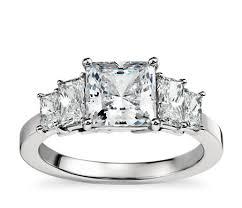 engagement rings square images Four stone square brilliant diamond engagement ring in platinum 1