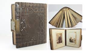 antique photo album antique leather bound photo album gold leaf and