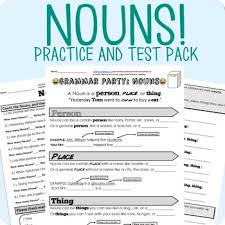 nouns grammar worksheet packet test by mrwatts tpt