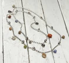 chain beaded necklace images Ball chain double necklace with beads and danglers jpg