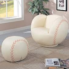 baseball chair and ottoman set amazon com baseball kid s novelty chair and ottoman set kitchen