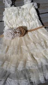 Country Shabby Chic Wedding by Rustic Ivory Burlap Flower Lace Dress Pettidress Rustic