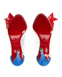 christian louboutin clear u0026 red pvc bow pumps in blue lyst