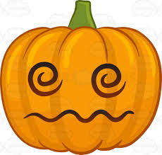 a dazed and confused halloween pumpkin cartoon clipart vector toons
