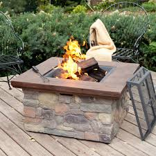 Wood Burning Firepit Pit Table On Wood Deck Deck Design And Ideas