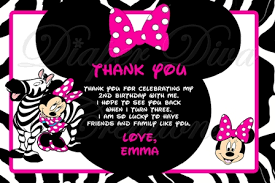 minnie mouse thank you cards mouse zebra thank you card