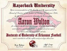 gifts for razorback fans arkansas razorbacks ultimate football fan personalized diploma
