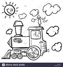 black and white cartoon of a train stock vector art u0026 illustration