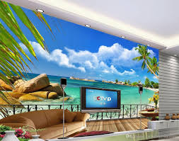 summer beach balcony scenery tv background wall decoration 3d