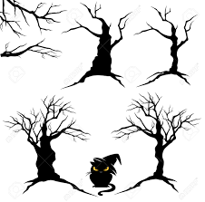 halloween black and white clipart creepy trees with twisted trunks and branches black and white