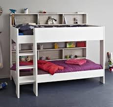 Kids Avenue Tam Tam  White Bunk Bed With Loft Grey Panels - White bunk beds uk