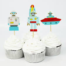 New Year Cupcake Decoration by Aliexpress Com Buy 48pcs Robot Rocket Vessel Cupcake Toppers