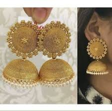 jhumka earrings women gold plated indian fashion party ethnic bridal