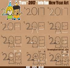 how to draw new years eve new year word cartoon art of kids