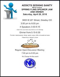 Seeking Dinner Addicts Seeking Sanity Fling Speaker Jam And Dinner