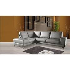 Gray Leather Sofas Paulina Grey Italian Leather Sectional Sofa Free Shipping Today