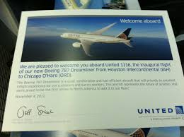 United Airlines Change Flight by United Airlines Boeing 787 Dreamliner Inaugural Ua Flight 1116