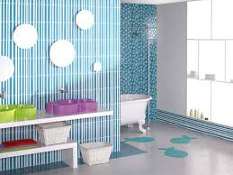 blue bathroom accessories toilet in light brown tile wall floor