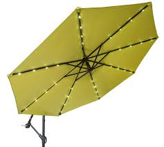 Patio Umbrellas With Led Lights 10 Deluxe Polyester Offset Patio Umbrella With Led Lights By