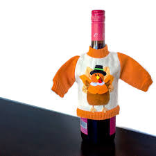 knit thanksgiving sweater for your bottle of wine turkey