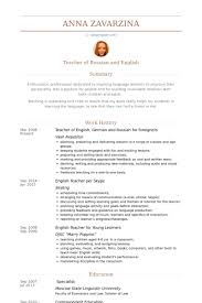 German Resume Sample by Teacher Of English Resume Samples Visualcv Resume Samples Database