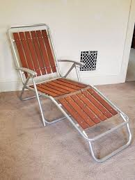 vintage redwood slat aluminum lawn chair chaise lounge folding patio