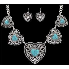 earring necklace set images Silver strike silver heart with turquoise stone earring necklace jpg