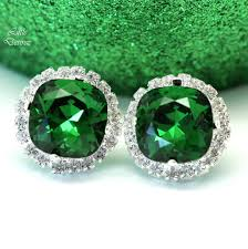 green earrings green stud earrings swarovski emerald dm 50 desirez