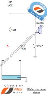 low water level indicator alarm circuit for water tank circuits