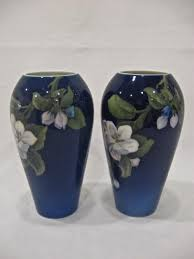 10375 by Pair Of Royal Copenhagen Cobalt Floral Vases 1930s From