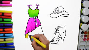 draw and color barbie dress hat sandal coloring page and learn