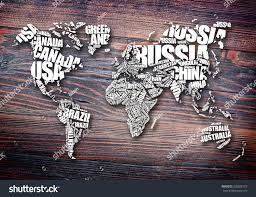 World Map Names Of Countries by World Map Typography Word Cloud Concept Stock Illustration