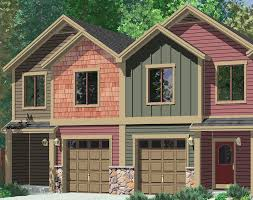 Row House Front Elevation - four plex house plans craftsman row house plans f 555