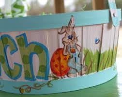 painted easter baskets painted easter basket etsy