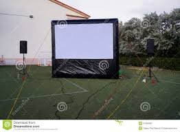 inflatable outdoor movie screen stock photo image 47658360