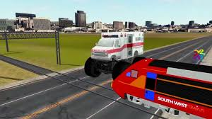 monster trucks trucks for children ambulance monster trucks cartoons crushing car bullet train