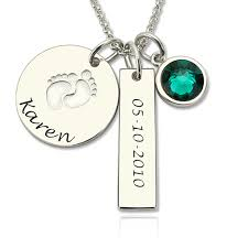 Disc Necklace Silver Birthstone Baby Feet Disc Necklace Bar Necklace For New Mom