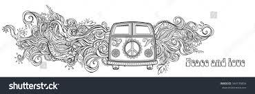 hippie van drawing hippie vintage car mini van ornamental stock vector 344135834