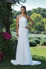 style 3986 chiffon gown with halter neckline and cowl back