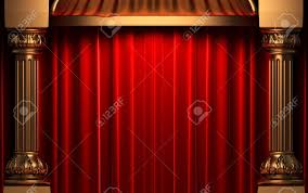 Velvet Curtains Red Velvet Curtains Behind The Gold Columns Stock Photo Picture