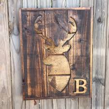 initial pallet wood deer silhouette wall hanging rustic country