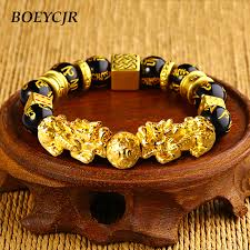 gold lucky bracelet images Boeycjr gold color brave troops stone beads bangles bracelets jpg