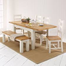 Dining Table 4 Chairs And Bench Country Cream Painted Dining Table 4 Chair 1 Bench Set