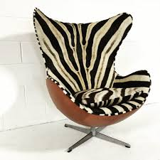 arne jacobsen for fritz hansen egg chairs in zebra hide and