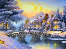 winter landscape art houses river bridge snow wallpapers13 com