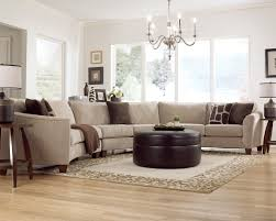 furniture modern living room with round leather ottoman also