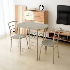 metal frame table and chairs wood ikayaa modern metal frame 3pcs breakfast dining table set with