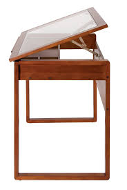 Drafting Table Glass Studio Designs Ponderosa Glass Topped Table In Sonoma