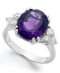 rings with amethyst images Macy 39 s 14k white gold ring amethyst 4 1 2 ct t w and diamond tif